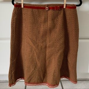 ORANGE AND BROWN SKIRT WITH BELT